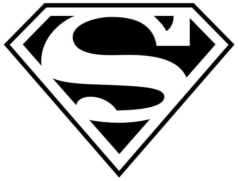 black and white superman logo