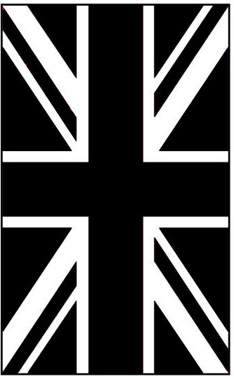 black and white union jack flag