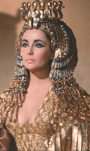 Elizabeth Taylor as Cleopatra in gold, 1963