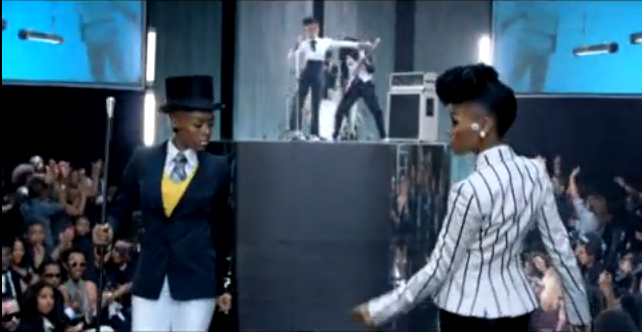 Janelle Monae, passing on runway in Many Moons video