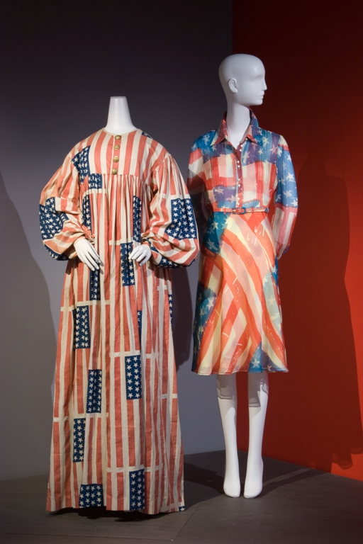 American flag costume c. 1889 and contemporary Flag Dress by Catherine Malandrino