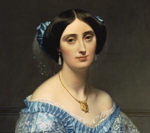 detail of Princesse Albert de Broglie, née Joséphine-Eléonore-Marie-Pauline de Galard de Brassac de Béarn by Ingres, 1853