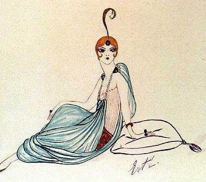 Erte Fashion Sketch with turban and harem pants