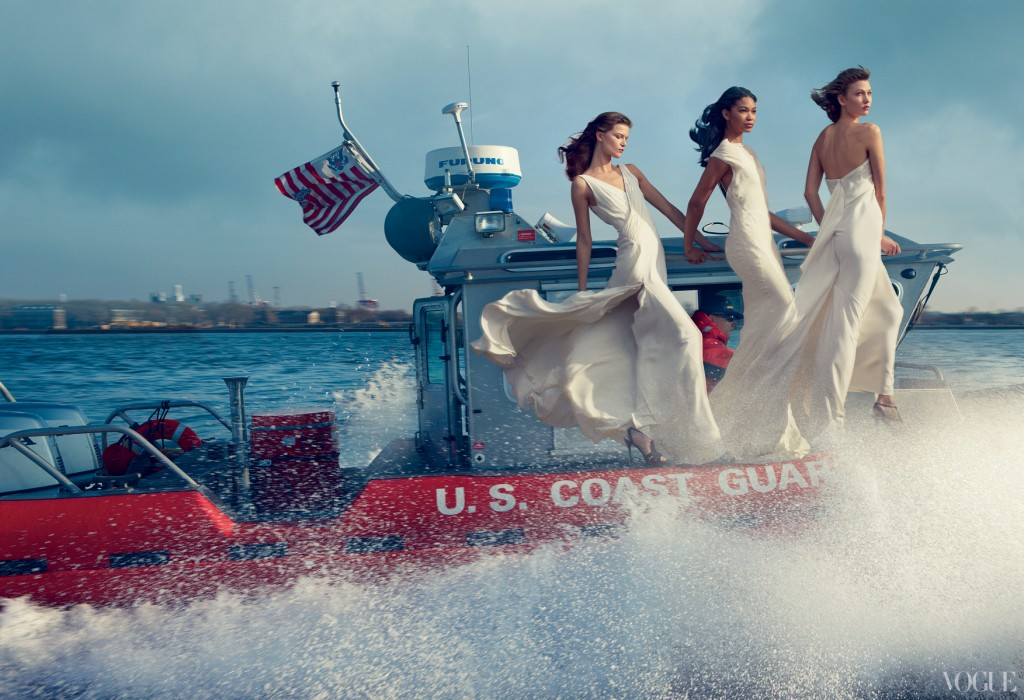 Coast Guard with Chanel Iman wearing Vera Wang and Karlie Kloss wearing Donna Karan