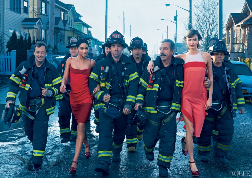 post-Hurricane Sandy FDNY with Iman wearing Narciso Rodriguez and Karlie Kloss wearing Diane von Furstenberg