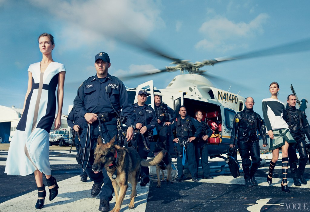 NYPD with Kasia Struss in Carolina Herrera, Karlie Kloss in Rodarte
